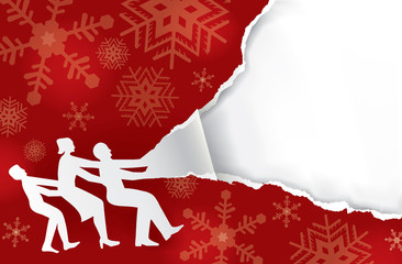 Family tearing Christmas wrapping paper, banner template. Paper family silhouette and red christmas torn paper. Place for your text or image. Vector available.