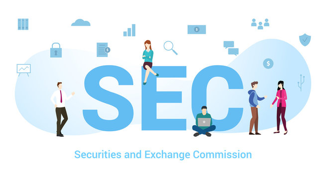 sec securities and exchange commission concept with big word or text and team people with modern flat style - vector