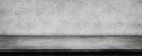Empty space of Plaster concrete shelf table and wall grunge texture background for use display...