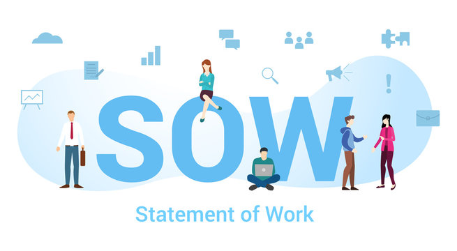 sow statement of work concept with big word or text and team people with modern flat style - vector