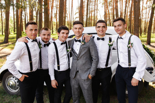 Group wedding photography. Elegant groom in grey suit with groomsmen with black bow ties and suspender at wedding day