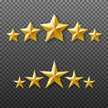 5 Gold stars rating set isolated on transparent background