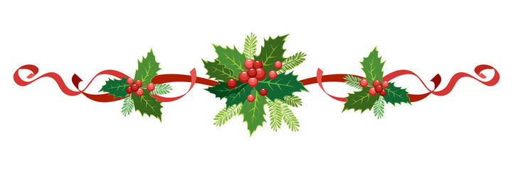 Christmas, New Year holiday decoration. Vector illustration garland of holly with red berries, ribbons, poinsettia, fir-tree branches. Frame, border for Christmas cards, banners.
