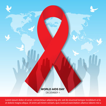 Vector Illustration Of World Aids Day With Aids Awareness Ribbon, World Aids Day Banner vector illustration