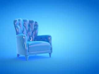 3d rendered illustration of a blue leather arm chair