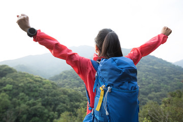Cheering woman hiker enjoying the view on morning mountain valley