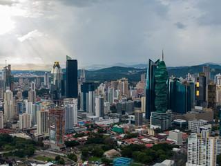 Beautiful aerial view of Panama City Skyscrapers