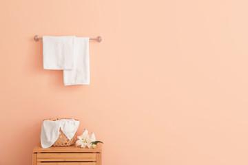 Soft clean towels in bathroom