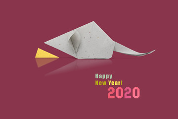 Chinese new year 2020 rat zodiac origami paper silver on violet background