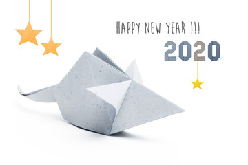 Chinese new year 2020 rat zodiac origami paper silver on white background