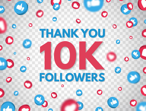 Thank you 10k followers background with falling likes and thumbs up icon. 10 000 followers celebration banner. Social media concept. Achievement poster. Counter notification. Vector illustration