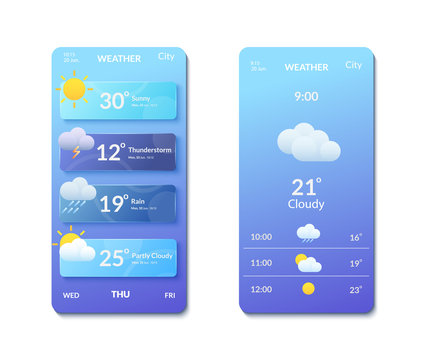 Smartphone screens with banners and weather forecast icons.