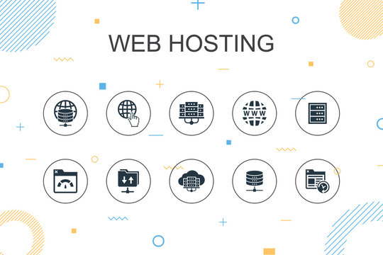web hosting trendy Infographic template. Thin line design with Domain Name, Bandwidth, Database, internet icons