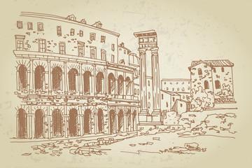 Wall Mural - vector sketch of Theatre of Marcellus (Teatro di Marcello) Rome, Italy.