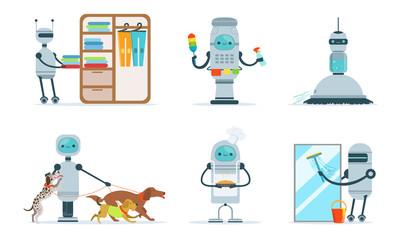 Good gray robots do housework. Vector illustration.