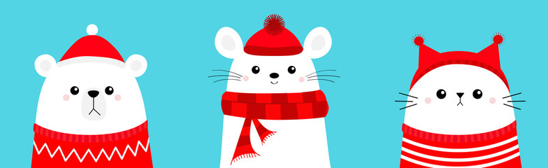 Merry Christmas. Polar white bear cub Mouse Cat head face wearing red Santa hat knitted ugly sweater, hat, scarf. Cute cartoon kawaii baby character. Arctic animal. Flat design. Winter background