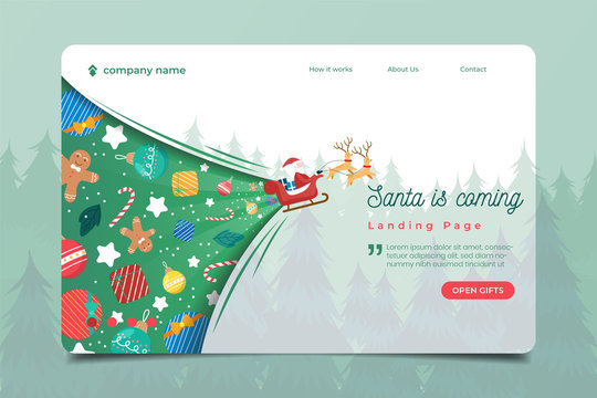Landing page with santa clause and christmas ornament background