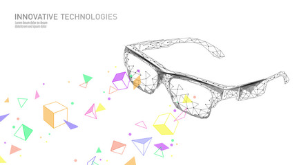 Virtual augmented reality glasses low poly. Innovation media entertainment polygonal concept. Technology web connection cinema 3D vector illustration