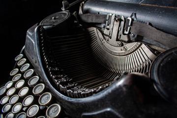 Antique, Vintage Typewriter Machine Close-up Photo.