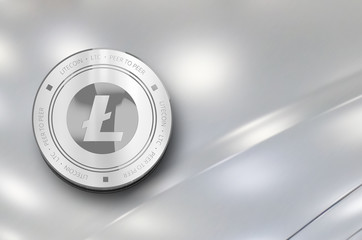 Litecoin (LTC) digital crypto currency. Silver coin. Cyber money.