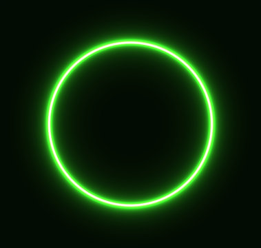 Neon green circle glowing for advertising and banner. Eps 10