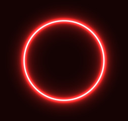 Neon red circle glowing for advertisement and banner. Eps 10