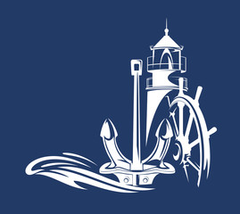 lighthouse,anchor,ship steering wheel and ocean wave - maritime sailing vector silhouette design
