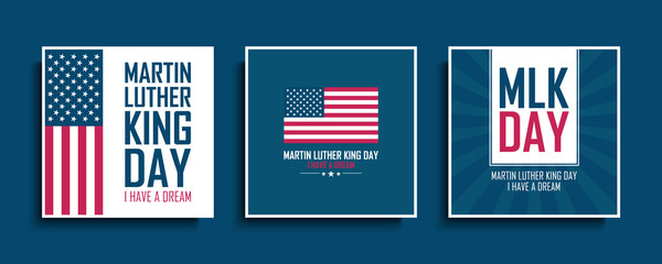 Martin Luther King Day celebrate cards set with United States national flag. MLK day collection. USA national holiday vector illustration.