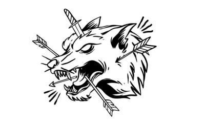 Vector Wolf illustration for T-shirt design