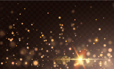 Texture background abstract black and gold Glitter and elegant for Christmas Dust white. Transparent background. Sparkling magical dust particles Magic concept Abstract background with bokeh effect Fototapete