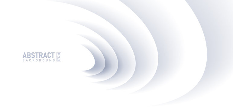 Abstract ripple effect on white background. circle shape with shadow in paper cut style illustration.