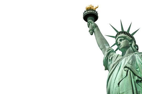 Close up of the Statue of Liberty in New York, USA. Isolated on white background with copy space