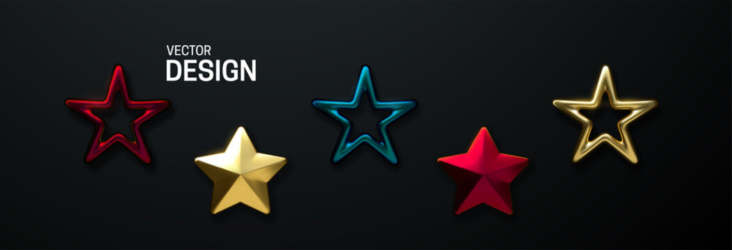 Decorative stars set isolated on black background. Vector 3d illustration. Golden and metallic geometric star shapes. Christmas holiday decoration elements