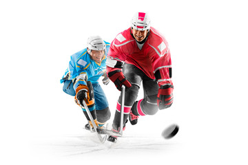 Professional hockey players in action on white backgound