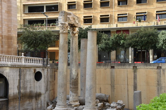 Roman Columns, Two with Corinthian Capitals and Entablature, Beirut, Lebanon