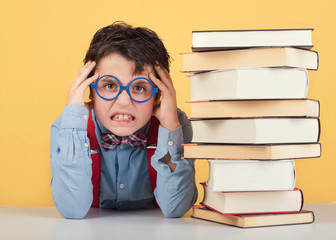 angry child with books