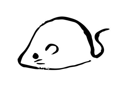 筆で落書き風ネズミ