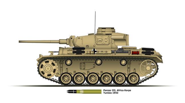 Char allemand Panzer 3 - Afrique - WW2