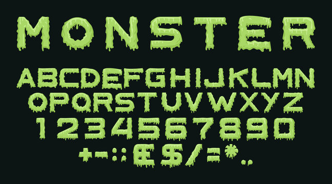 Monster type. Vector spooky alphabet with drops of flowing slime. Scary letters and numbers isolated on black background for halloween, theme party posters, flyers and decoration