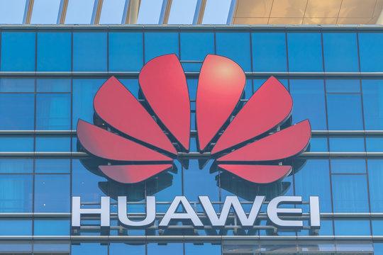 Huawei Logo on the main building in Dongguan Songshan Lake  Base