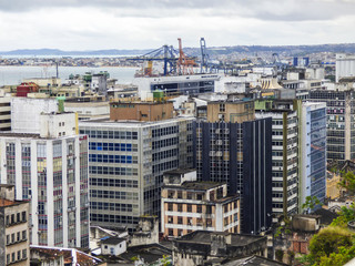 Salvador, Brazil - Circa September 2019: Cityscape of Salvador - a view from above of the Lower City district of Comercio, adjacent to the historic center