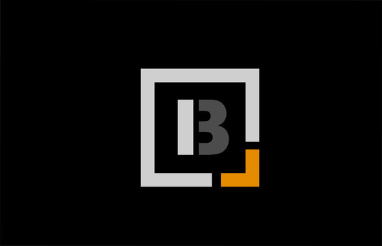 black white orange square letter B alphabet logo design icon for company