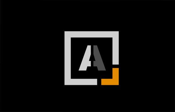 black white orange square letter A alphabet logo design icon for company
