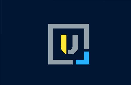 blue yellow letter U alphabet logo design icon for business