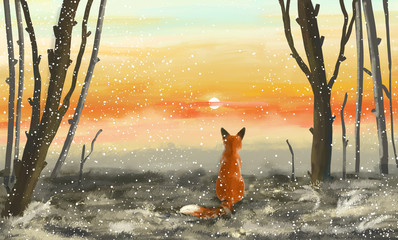 Poster Gray Winter forest with sunset and fox. The fox sits in the winter forest and looks at the sunset. Illustration painting.