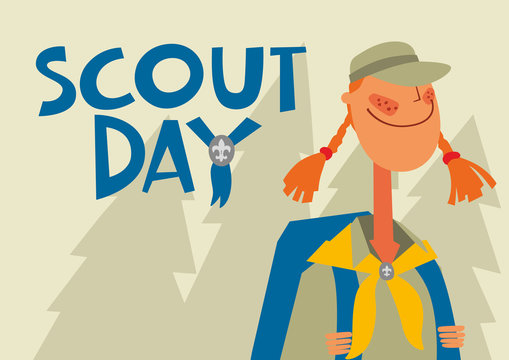 Greeting Card Scout Day. Girl scout in the wild forest. Vector hand full color graphics