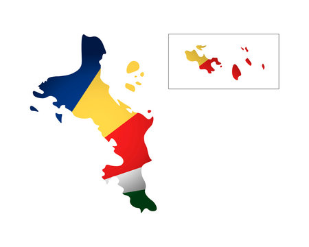 Vector illustration with national flag and map (simplified shape) of Republic of Seychelles. Volume shadow on the map