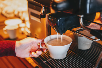 A delicious coffe is serving in a elegance restaurant or cafe