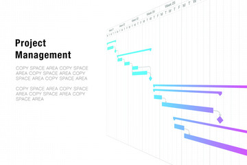 Project management template with Gantt chart planning schedule with tasks and milestones for business presentations and illustration design concept, dark blue theme fully editable EPS10 vector