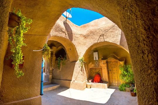 Berber underground dwellings. Troglodyte house. Matmata, Tunisia, North Africa